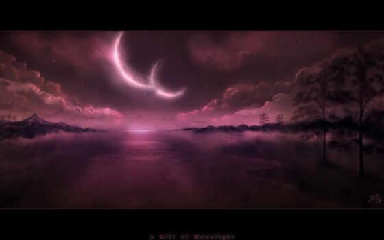 ночь, луна, moonlight, gece, yarısı, sanat,