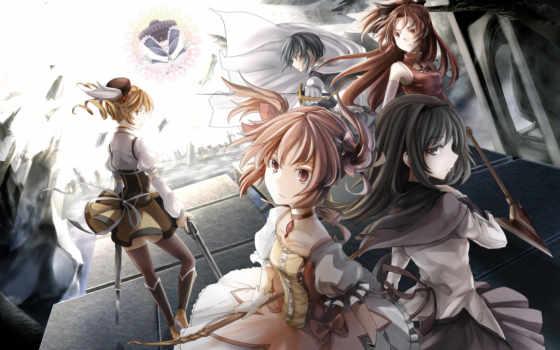 anime, девушки, оружие