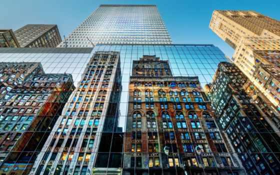 нью, york, небоскребы