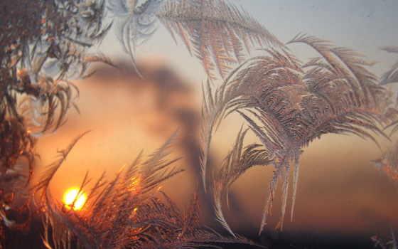 узоры, зимние, winter, окно, стекле, иней, рассвет, разное,