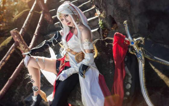 cosplay, поза, глаза, девушка, смотреть, фон, кот, меч, mobile, устройство, свет