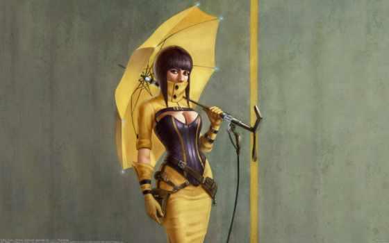 зонтик, girls, yellow