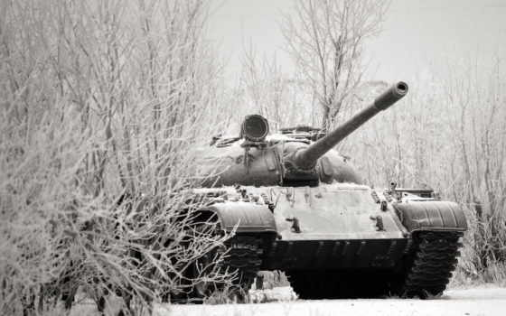 танк, т-55, зима, снег, иней