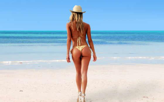 devushki, девушек, шляпе, спинои, похудения, моря, банка, где, девушка,