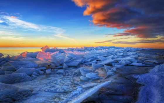 пляж, hdr, desktop, лед, crushed, frozen,