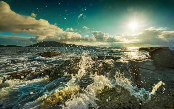 брызги, камни, море