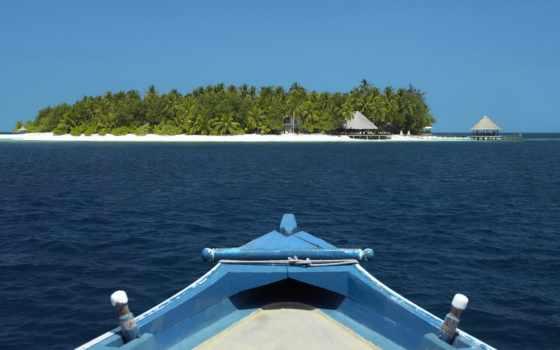 пальмы, красивые, ultra, лодка, остров, позитивные, планшетный, ocean,