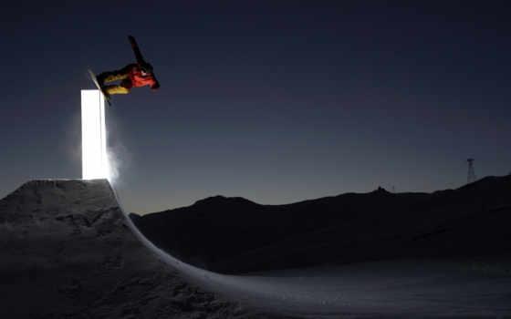 ночь, сноуборд, свет, трамплин, картинка, snowboarding, картинку,