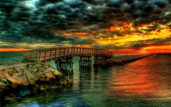 небо, закат, мост