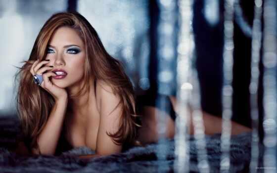 adriana, lima, свет, девушка, лицо, губы, лежит, волосы, соблазн,