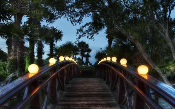 фонари, вечер, мост