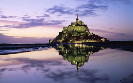 castle, france, замок, огни, гора, облака, горизонт, небо, marine, отражение, michel, mont, saint, dream, with, desktop, image,