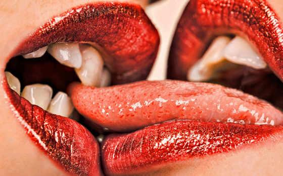 красивые, губы, целоваться, поцелуй, love, девушки