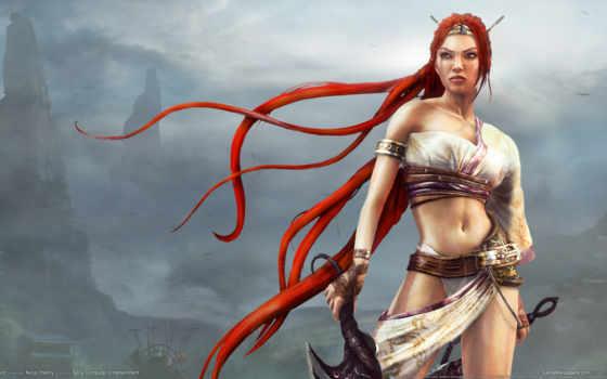 волосы, девушка, рыжие, heavenly, воин, меч, nariko,