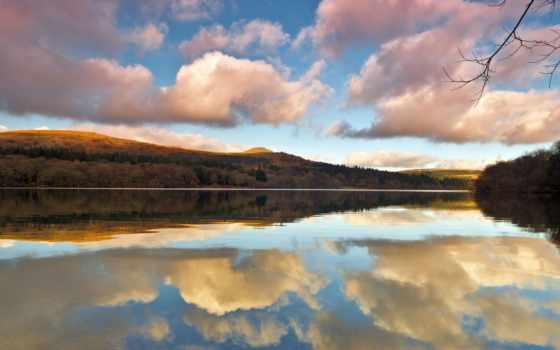 отражение, озеро, природа, oblaka, небо, заставки, картинка, небе, пейзажей, красивых, color,