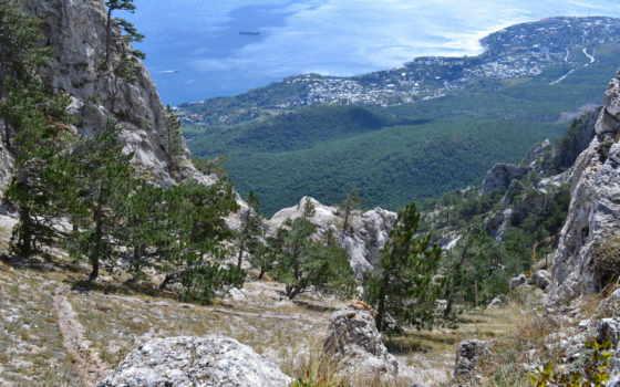 resimleri, manzara, алупка, горы, лес, крымский, петри, aw, сентябрь, ay,