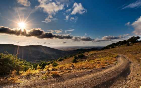 гора, дорога, горы, oblaka, sun, nuude, mati, пейзажи -,