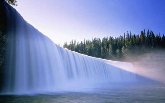 водопад, лес, вода, falls, красивый, природа, деревья, пейзаж, водопады,