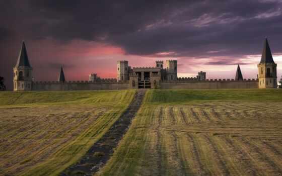 замок, поле, fortress