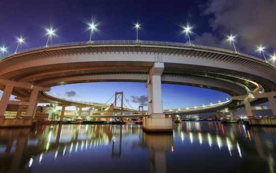 ,мост,вечер,фонари,отражение,