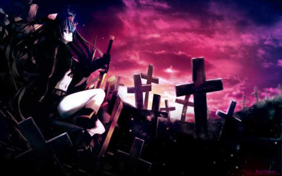 кладбище, anime, задумчивость