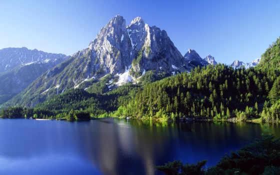 горы, природа, water, лес, озеро, рябь, top, телефон, gandex, заставки, испания,