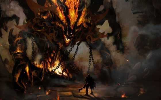 fantasy, воин, демон, широкоформатные, разрешением, full, демоны, castle, красивые,