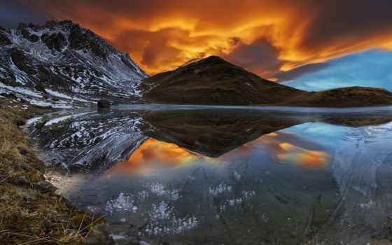 природа, озеро, снег, горы, закат, nhiên,