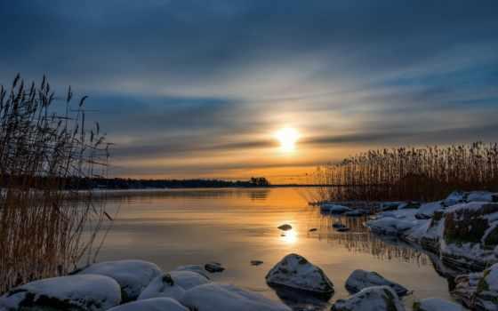 winter, sonnenuntergang, natur, sonnenaufgang, himmel, reflexion, landschaften, gras, schilf, закат,