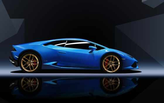 lamborghini, huracan, blue, car, sports,