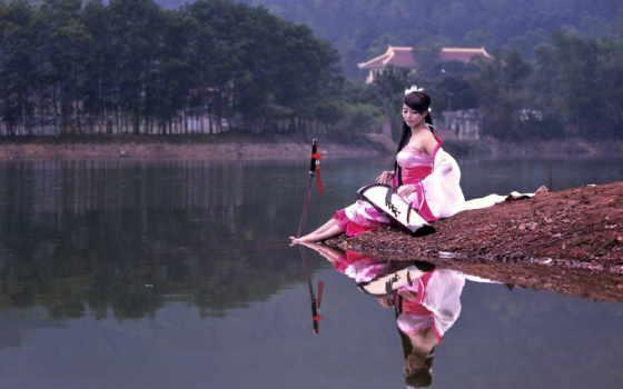 девушка, берегу, озера, музыка, сидит, water, мечом, заставки, reki,