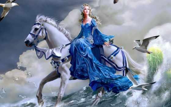 девушка, платье, вышивка, синем, лошадь, devushki, diamond, лошади, крестом, зодиака, море,