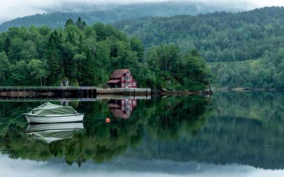 дерево, озеро, landscape, лодка, биг, fore, туман, house, sunlight, красавица