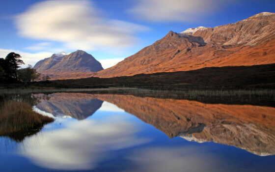 отражение, гора, landscape, cvety, небо, море, облако