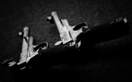 оружие, пистолеты, чёрно, белое, weapons, картинка, fs, кнопкой, пара,