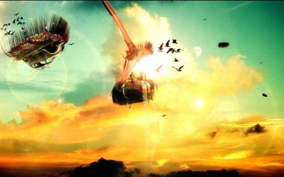 небо, oblaka, мечты, лестница, полет, heaven, широкоформатные,