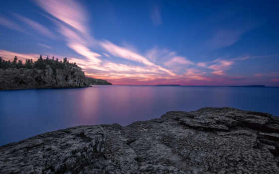 озеро, восход, онтарио, канада, рассвет, flickr, rocks,