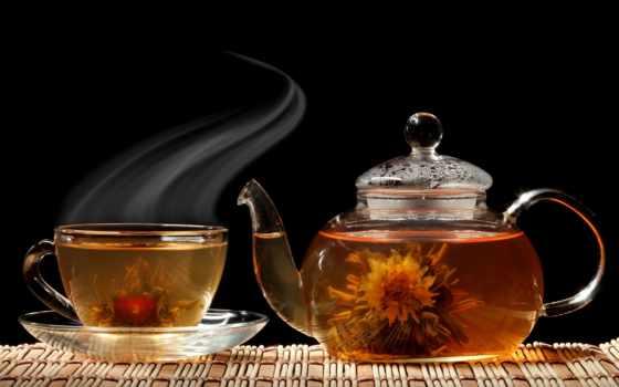 чая, cup, чайник, black, чая, блюдце, цветы,