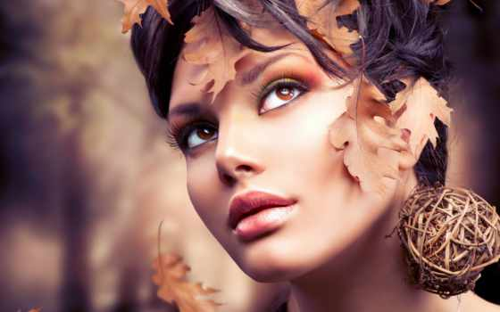 макияж, осень, фотосессии, листья, изображение, девушка, пасть,