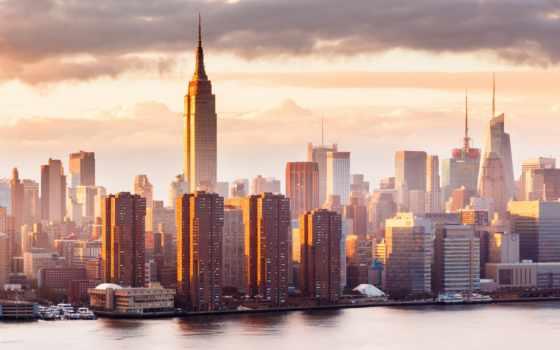сша, американский, город, небоскрёб, york, нью,