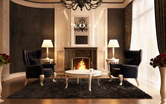 камин, столик, кресла, ковёр, огонь, зал, люстра, интерьер, room, living, красивые,