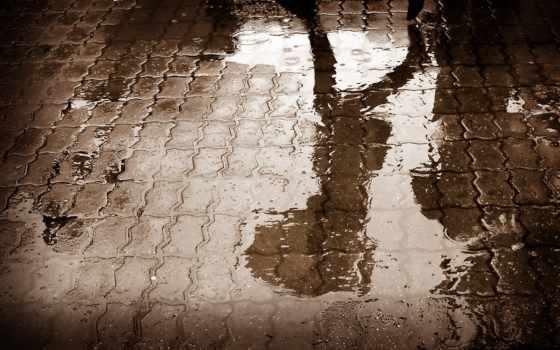 дождь, асфальт, water, дорога, отражение, shadow,