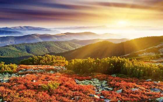 природа, sun, rays