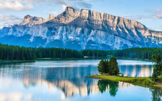 озеро, два, jack, banff, park, канада, national, альберта, изображение, mountains,