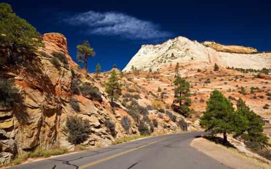 дорога, пустыня, park, national, zion, фотообои, широкоформатные, горы, скалы, стену,