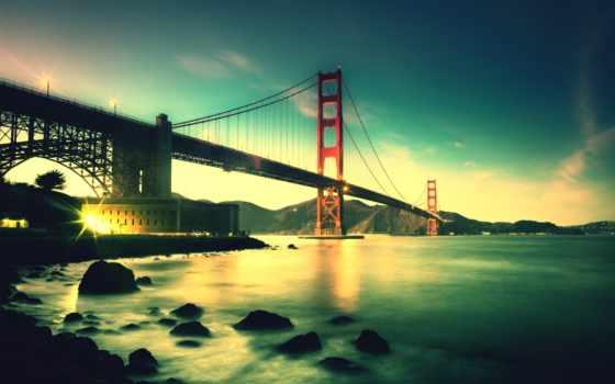 мост, gate, золотистый, francisco, san, sana, город, подвеска,