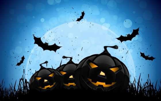 halloween, мыши, летучие, тыквы, creepy, bats, scary, жутко, full, луна,