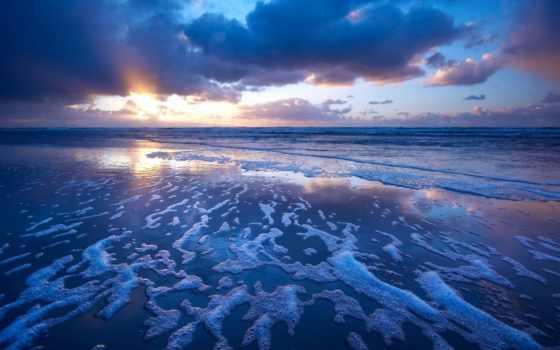 небо, море, oblaka