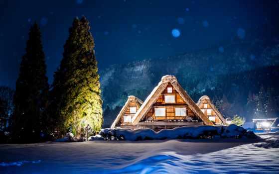 winter, горы, снег, house, огни, вечер, houses,