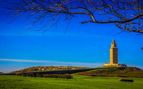 lighthouse, hercules, испания, torre, turret, roman, branch, фото